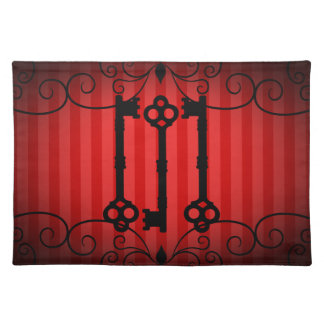 Gothic victorian old keys on red stripes placemats