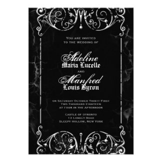 Gothic Victorian Spooky Black White Wedding Personalized Announcements