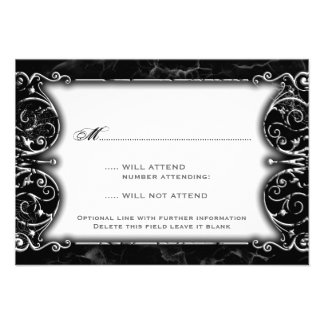 Gothic Victorian Spooky Black White Wedding RSVP Personalized Announcements