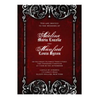 Gothic Victorian Spooky Red Black White Wedding Custom Invitation