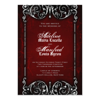 Gothic Victorian Spooky Red, Black & White Wedding 5x7 Paper Invitation Card