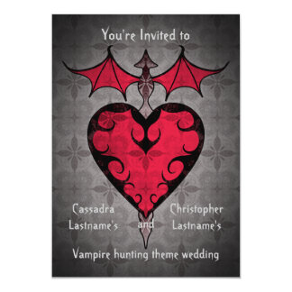 """Gothic victorian staked vampire heart in red 5"""" x 7"""" invitation card"""