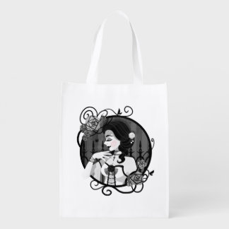 Gothic Victorian Vampire Portrait Reusable Grocery Bag