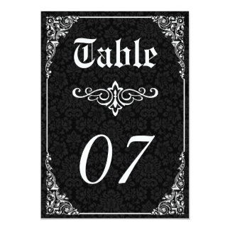 Gothic Victorian Wedding Table Numbers Card