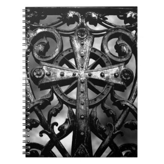 Gothic victorian wrought iron celtic cross spiral note books