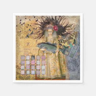 Gothic Whimsical Pisces Woman Renaissance fishing Napkin