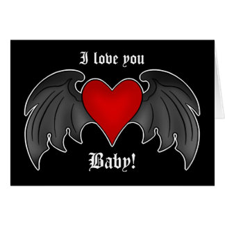 Gothic winged heart romantic Valentines Day Card