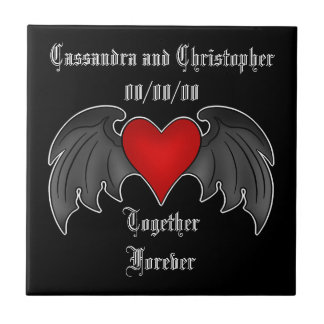 Gothic winged heart together forever ceramic tile