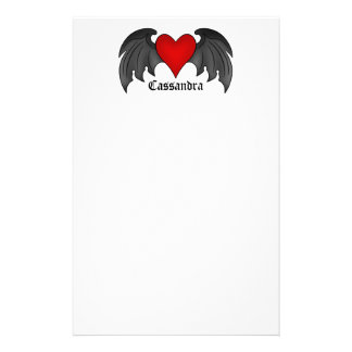 Gothic winged heart Valentines Day Stationery