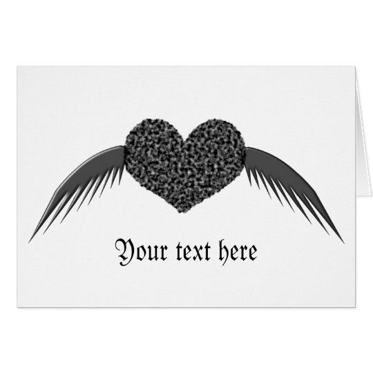 Gothic Winged Love Heart Custom Greeting Card