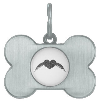 Gothic Winged Love Heart Pet Tag