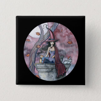 Gothic Witch Cat Halloween Button, Pin