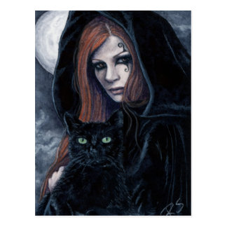 Gothic Witching Hour Cat Postcard