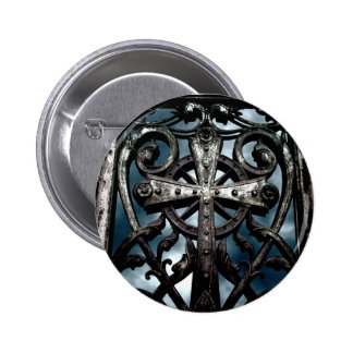 Gothic wrought iron celtic cross 2 inch round button