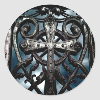 Gothic wrought iron celtic cross stickers