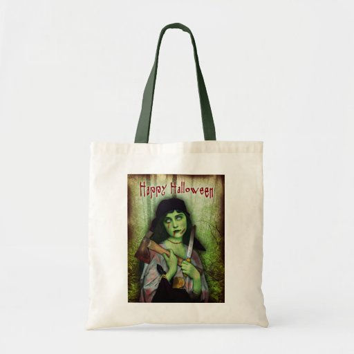Gothic Zombie Girl Halloween Horror Canvas Bag