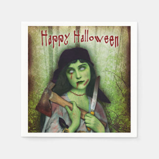 Gothic Zombie Girl Halloween Horror Paper Napkin