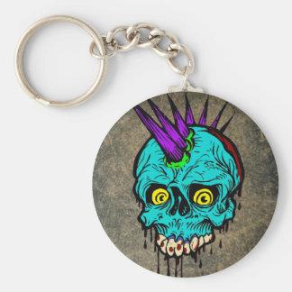 Gothic Zombie Punk Skull Keychain