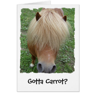 Gotta Carrot? Sassy Pony Greeting Card, Blank Card