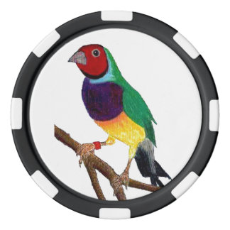 ~ Gouldian Finch ~ Original Art ~ Poker Chips