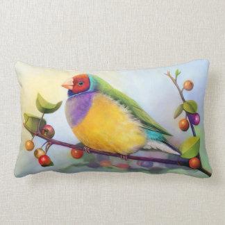Gouldian finch realistic painting lumbar pillow