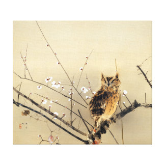 Goun Owl with Early Plum Blossoms Woodblock Canvas Print
