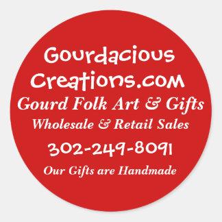 Gourdacious, Creations.com, Gourd Folk Art & Gi... Round Sticker