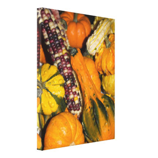 Gourds & Corn Assortment Photo Canvas Print