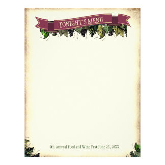 Gourmet food and wine tasting menu letterhead