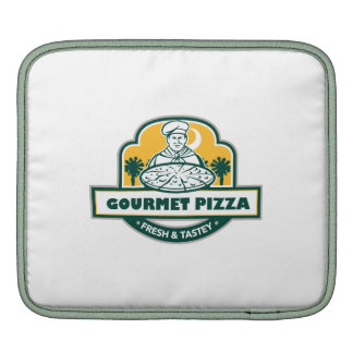 Gourmet Pizza Chef Palmetto Trees Shield Retro iPad Sleeves