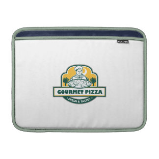 Gourmet Pizza Chef Palmetto Trees Shield Retro Sleeves For MacBook Air