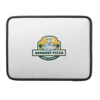 Gourmet Pizza Chef Palmetto Trees Shield Retro Sleeves For MacBooks