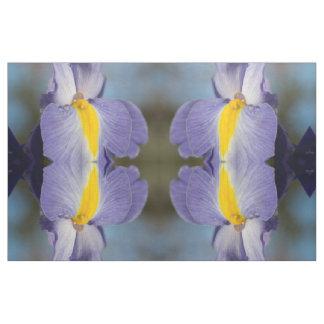 Gouttes de pluie sur le tissu d'iris pourpres et