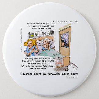 Gov Scott Walker Funny Satirical Gifts Tees Etc 6 Inch Round Button