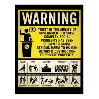 Government Warning Postcard