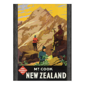 Govt Tourist Dept Mt Cook New Zealand, Vintage Postcard