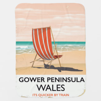 Gower Peninsula Wales vintage travel poster Baby Blanket