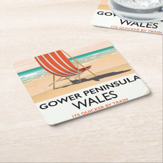 Gower Peninsula Wales vintage travel poster Square Paper Coaster