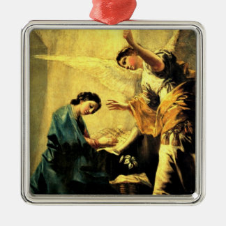 Goya: The Annunciation, famous religious painting Silver-Colored Square Ornament