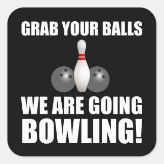 Grab Balls Going Bowling Square Sticker