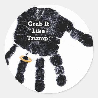 Grab It Like Trump Handprint With Ring Round Sticker