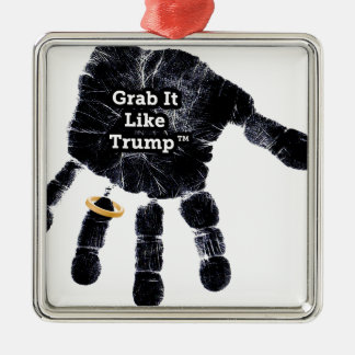 Grab It Like Trump Handprint With Ring Silver-Colored Square Ornament