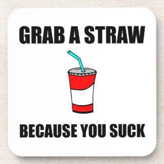 Grab Straw You Suck Drink Coasters