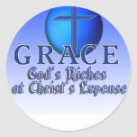 GRACE ACRONYM -GOD'S RICHES AT CHRIST'S EXPENSE ROUND STICKER