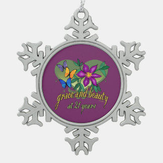 Grace and Beauty at 21 Pewter Snowflake Ornament