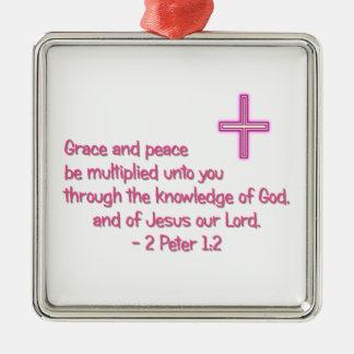 Grace and Peace Silver-Colored Square Ornament