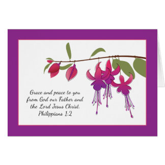 Grace And Peace To You, Fuchsia Flowers Card