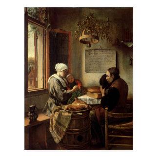 Grace before Meat, 1660 Postcard