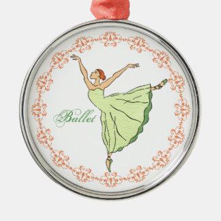 Grace en Pointe Ornament. Silver-Colored Round Ornament