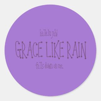Grace Like Rain. Classic Round Sticker